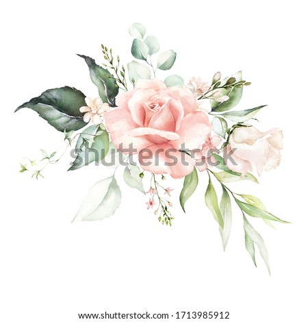 Watercolor floral bouquet - illustration with bright pink vivid flowers, green leaves, for wedding stationary, greetings, wallpapers, fashion, backgrounds, textures, DIY, wrappers, cards.