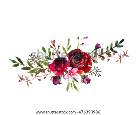 c77380811e7 Watercolor floral bouquet purple burgundy roses peonies fall leaves and  flowers isolated on white background.