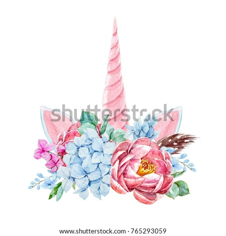 Shutterstock Watercolor floral bouquet with  feathers.  invitation wedding card. blue hydrangea, pink peony, pink unicorn horn and ears