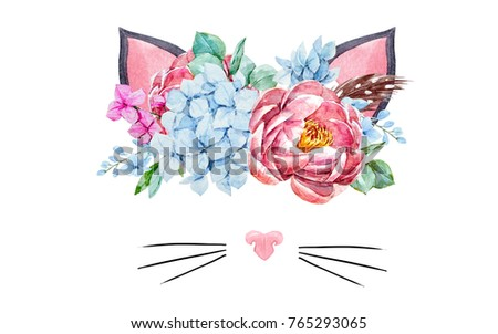 Watercolor floral bouquet with  feathers.  invitation wedding card. blue hydrangea, pink peony, cute cat ears and nose