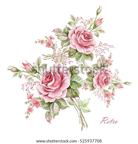 Watercolor floral composition of roses in bud