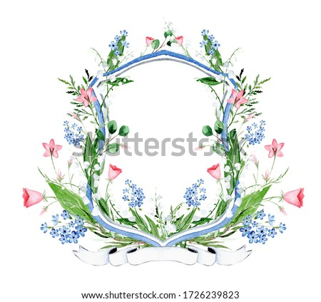 Watercolor floral crest. Lily of the valley and wild flowers crest. Foto d'archivio ©