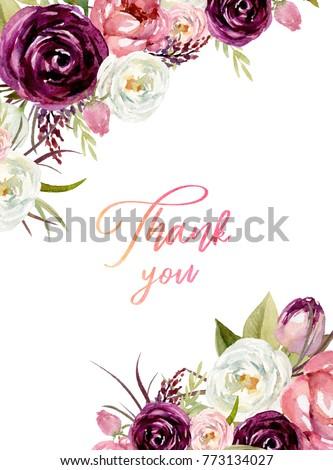 Watercolor Floral Frame Border