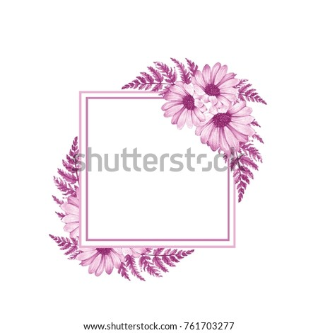 Watercolor floral frame 7. Element for design. Watercolor background with flowqers and leaves #761703277