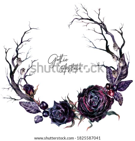 Watercolor Floral Gothic Wreath with Dry Branches and Black Roses Isolated on White. Botanical Halloween Illustration in Vintage Style. Gothic Wedding Decoration. Zdjęcia stock ©
