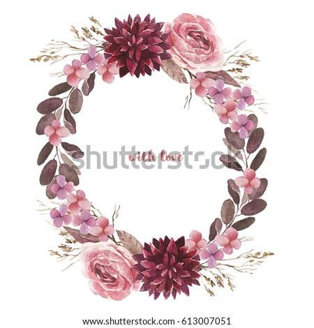 Watercolor Floral Illustration Flower Bouquet For Wedding