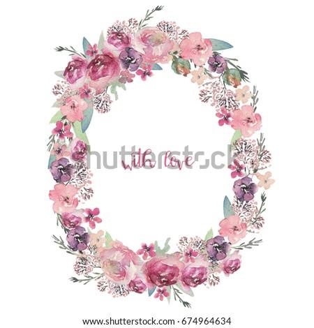 Watercolor floral illustration - flower wreath for wedding, anniversary, birthday, etc. invitations