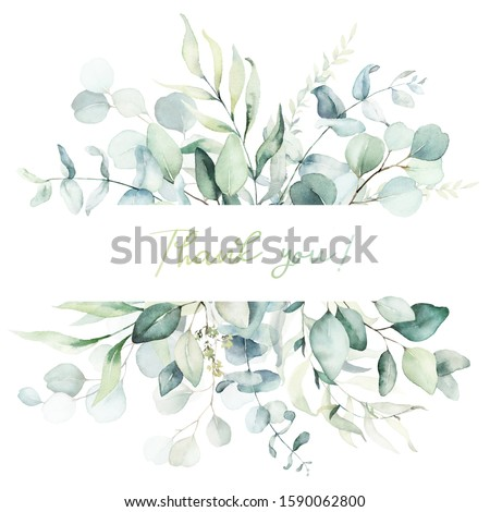 Watercolor floral illustration - leaf frame / border, for wedding stationary, greetings, wallpapers, fashion, background. Eucalyptus, olive, green leaves, etc. Сток-фото ©