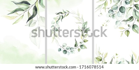 Watercolor floral illustration set - collection of green pink wreath, frame, bouquet, for wedding stationary, greetings, wallpaper, fashion, posters, background. Eucalyptus, olive, green leaves, rose.
