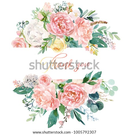 Watercolor floral illustration - wreath / frame with bright peach color, white, pink, vivid flowers, green leaves, for wedding stationary, greetings, wallpapers, fashion, background, texture, wrapping #1005792307