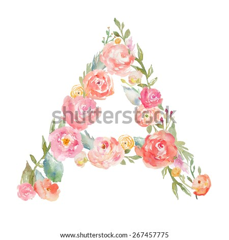 Watercolor Floral Monogram Letter A on Isolated White Background. Monogram Letter A