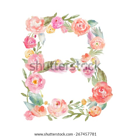 Watercolor Floral Monogram Letter B on Isolated White Background. Flower Alphabet