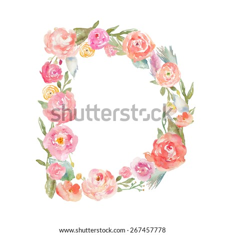 Watercolor Floral Monogram Letter D on Isolated White Background. Floral Alphabet Letter D