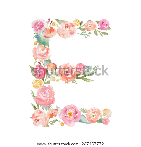 Watercolor Floral Monogram Letter E on Isolated White Background. Alphabet Letter Made of Flowers