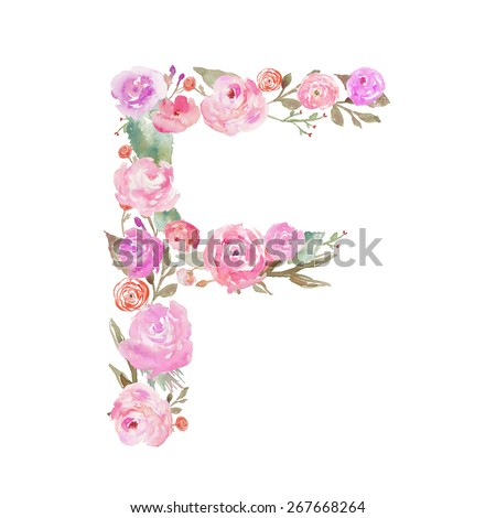 Watercolor Floral Monogram Letter F Made of Flowers