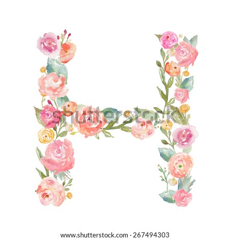 Watercolor Floral Monogram Letter H on Isolated White Background. Alphabet Letter Made of Flowers