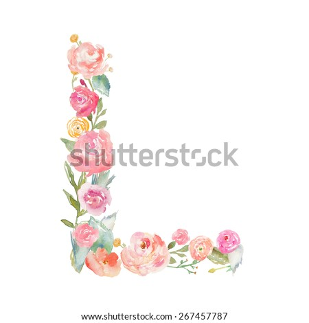 Watercolor Floral Monogram Letter L. Uppercase Flower Letter L Monogram