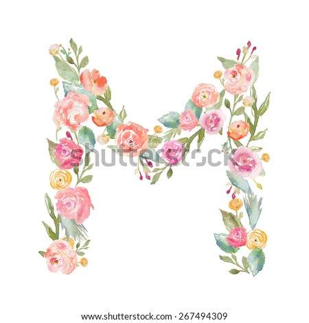 Watercolor Floral Monogram Letter M. Floral Alphabet Letters on Isolated White Background. Alphabet Letter Made of Flowers