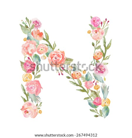 Watercolor Floral Monogram Letter N on Isolated White Background. Floral Alphabet Letter N