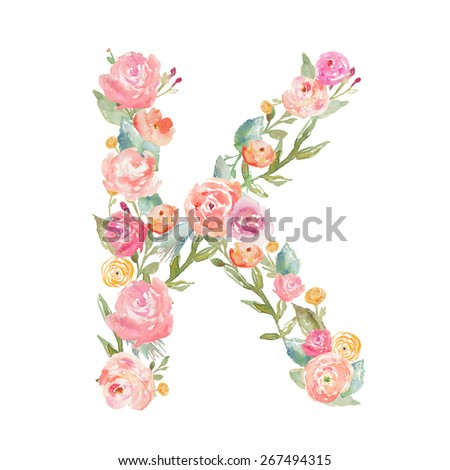 Watercolor Floral Monogram Letter on Isolated White Background. Alphabet Letter Made of Flowers