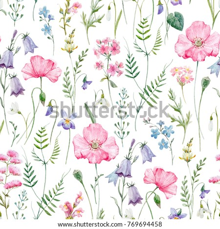 Watercolor floral pattern, delicate flower wallpaper, wildflowers pink,  pink poppy, snowdrop, violet and purple bells. flying dragonfly, retro.  delicate feminine pattern