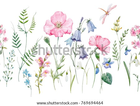 Watercolor floral pattern, delicate flower wallpaper, wildflowers pink,  pink poppy, snowdrop, violet and purple bells. flying dragonfly, retro. Horizontal pattern