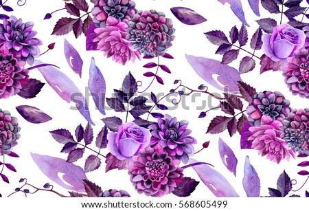 Watercolor floral pattern. Purple flowers background