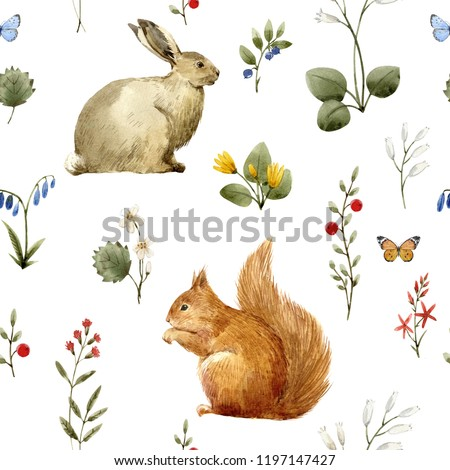 Watercolor floral pattern, wild flowers and animals. squirrel  and hare,  . Forest Botanical Prints