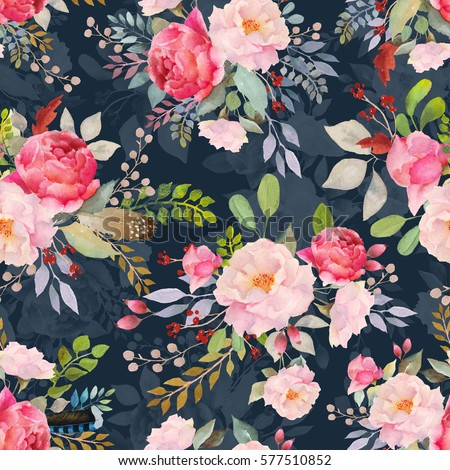 Watercolor floral roses pattern and seamless background. Ideal for printing onto fabric and paper or scrap booking. Hand painted. Raster illustration.