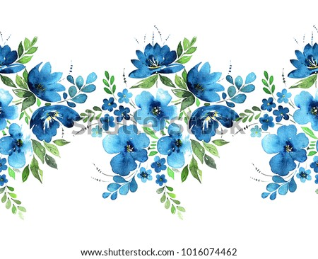 Watercolor floral seamless border. Lovely bouquets of blue flowers, leaves, herbs and fruits and buds isolated on white background. Painted with love.
