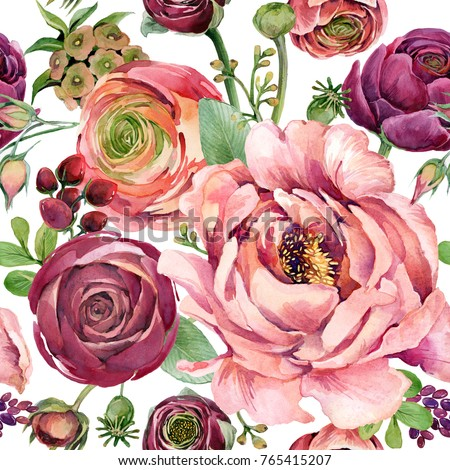 watercolor floral seamless pattern. hand-drawn flowers illustration