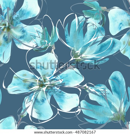 Watercolor floral seamless pattern. Hand painted design template.