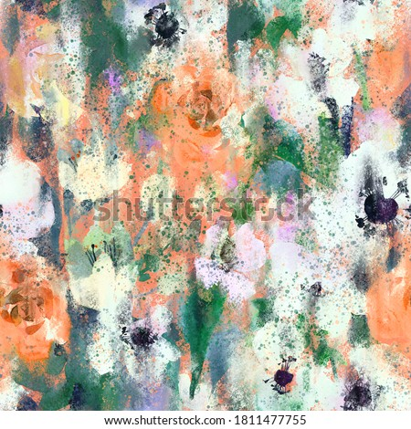 Watercolor floral seamless pattern with blurred roses. Hand drawn nature background made of meadow flowers with stains and splashes of paint, grunge texture. Flower buds blooming. Trendy mixed design.