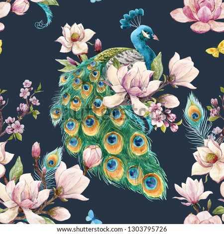 Watercolor floral spring pattern with peacock bird, blooming pink magnolia, blooming sakura, flying butterfly Foto stock ©