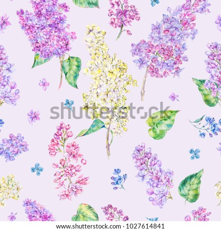 Watercolor floral spring seamless pattern, blooming branch of lilac. Nature botanical illustration on pink background. Violet flowers