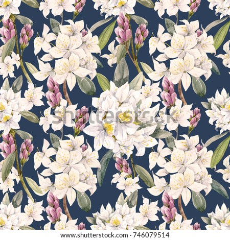 Watercolor Floral Tropical Pattern White Oleander Flowers White