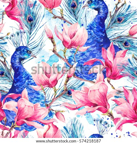 Watercolor Floral Vintage Seamless Pattern, Pair of Peacock with Flowers Magnolia, Twigs, Leaves and Feathers, Abstract natural bohemian watercolor illustration on white background