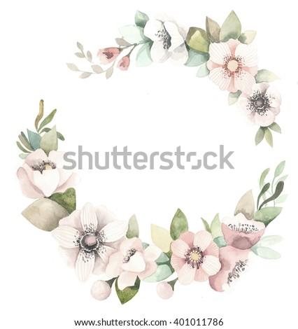 Watercolor floral wreath with leaves
