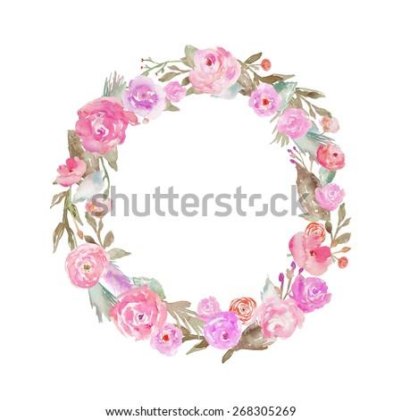 Watercolor Flower Alphabet. Monogram Letter O Made of Flowers