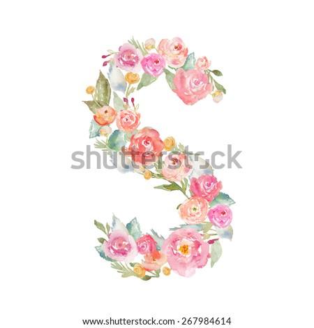 Watercolor Flower Alphabet. Monogram Letter S Made of Flowers