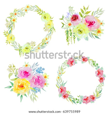 Watercolor flower arrangements set. Watercolors bouquets of flowers and floral frames.