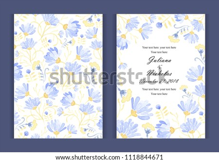 "Watercolor flower  background border. Invitation card for a birthday or wedding. Floral patterns. Size: 5"" x 7"".  The front and back side. Blue tulips, chamomile, leaves. Summer ornament."