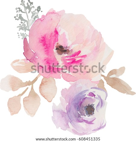 Watercolor Flower Bouquet. Pink Flower Bouquet. Watercolor Flower Bunch