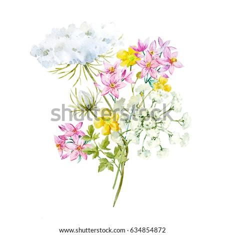 Watercolor flower bouquet, white flowers queen anne's lace. Yellow buttercup