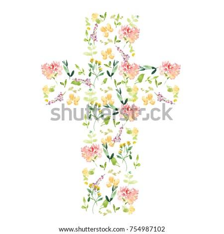 Watercolor Flower Cross. Cross Made of Flowers. Easter Cross. Christening Decoration