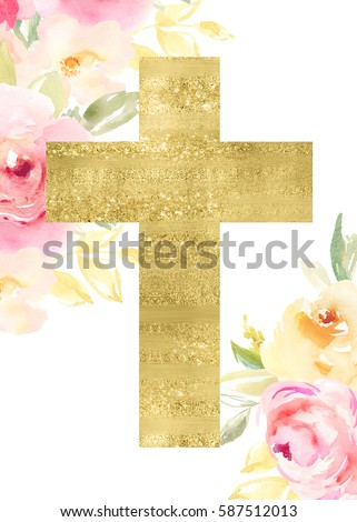 Watercolor Flower Cross. Easter Cross Background. Watercolor Flowers With Gold Cross.