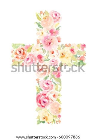 Watercolor Flower Cross. Easter Cross Made of Flowers. Watercolor Flower Cross