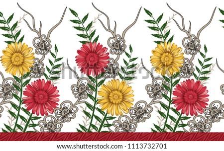 watercolor flower horizontal border