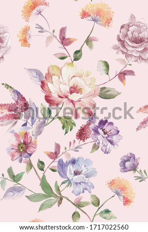 watercolor flower on the pink background is hand painted with delicate and delicate flowers ストックフォト ©