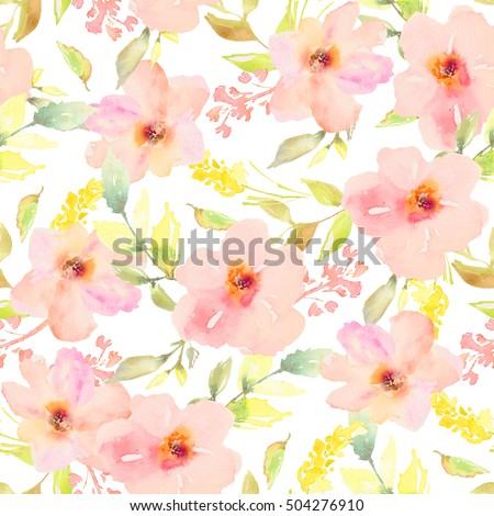 stock photo watercolor flower pattern seamless watercolor flower pattern flower pattern watercolor flower 504276910 - Каталог — Фотообои «Цветы»
